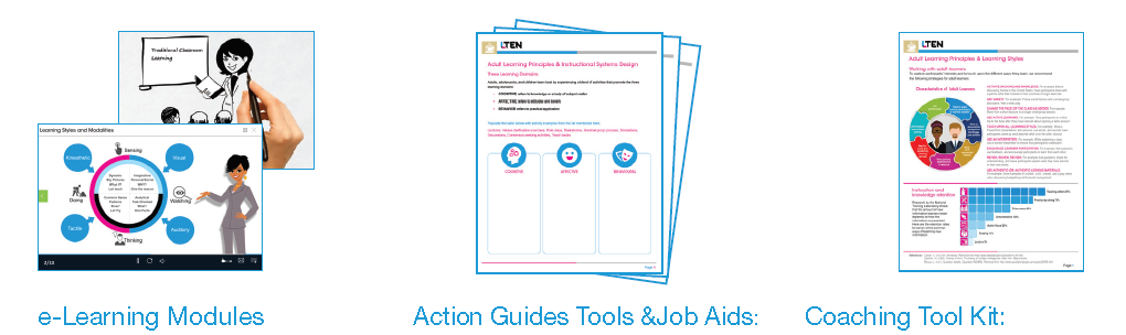 The eLearning Lounge includes action guides, tools, and coaching toolkit