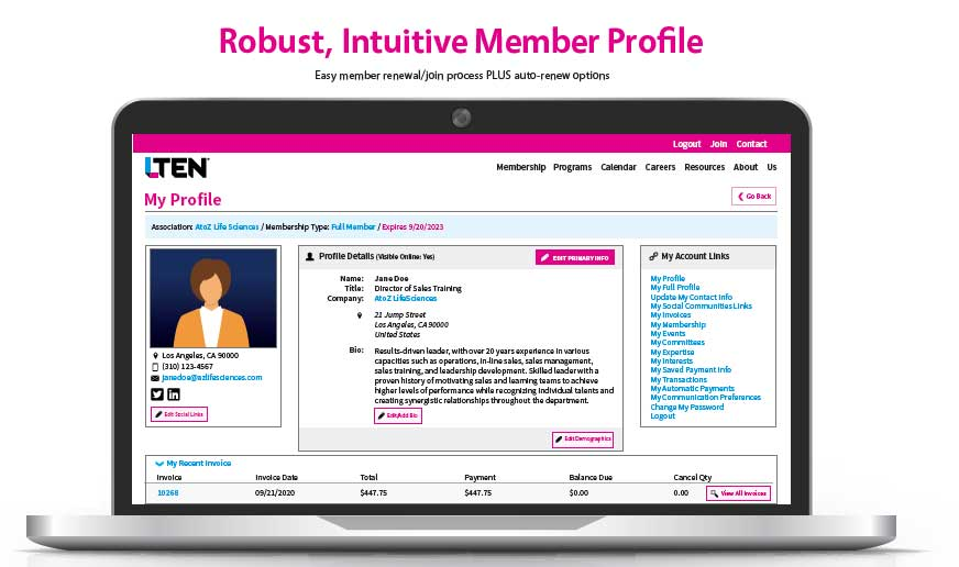 Robust, Intuitive Member Profile