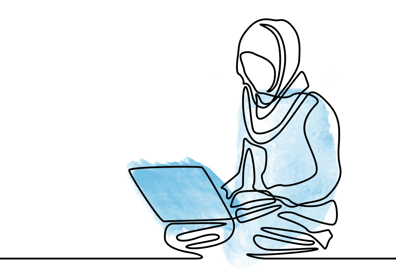 woman in head scarf on computer